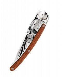 Latino Skull Coralwood 27g Knife Full Open