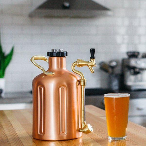 Beer Growler uKeg128 Copper Plated On Bench