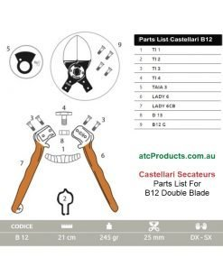 Castellari B12 Double Blade Secateurs Parts List