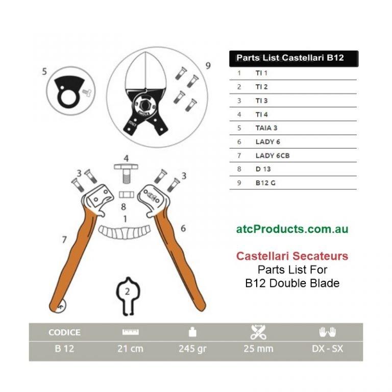 Castellari B12 Double Blade Secateurs Parts List
