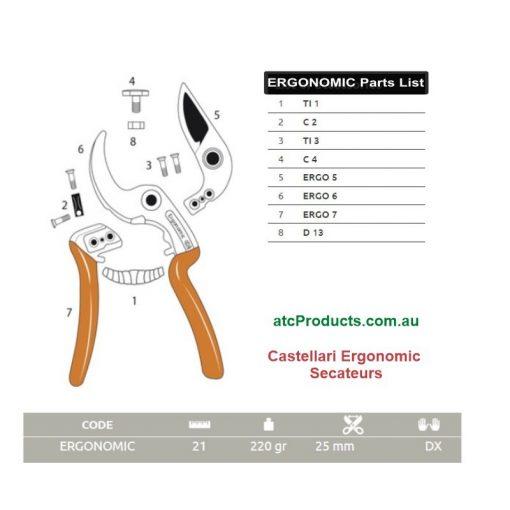 Castellari Ergonomic Secateurs Parts List