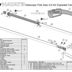 Silky Hayate Telescopic Pole Saw 3.8 mtr Exploded View