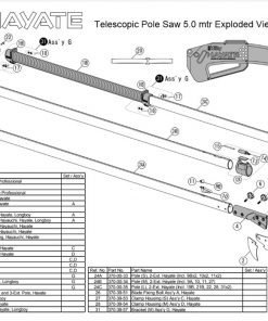 Silky Hayate Telescopic Pole Saw 5.0 mtr Exploded View