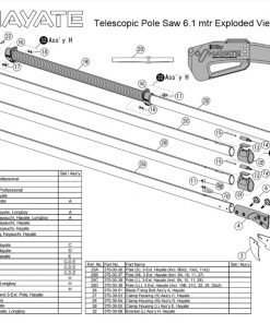 Silky Hayate Telescopic Pole Saw 6.1mtr Exploded View
