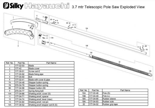 Silky Hayauchi 3.7mtr Pole Saw Exploded View