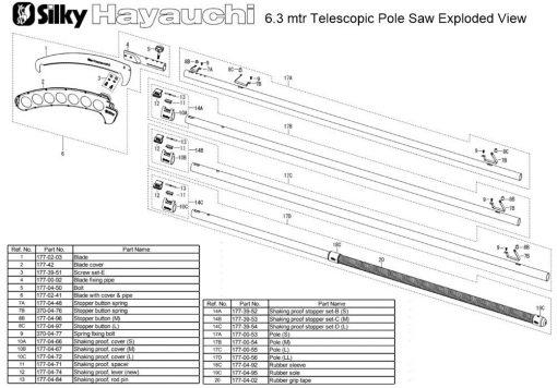 Silky Hayauchi 6.3mtr Pole Saw Exploded View