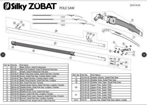 Silky Zubat Pole Saw Exploded View Parts