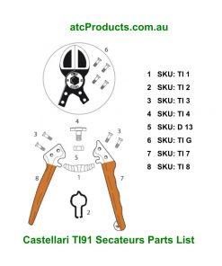 Castellari TI91 Secateurs Parts List