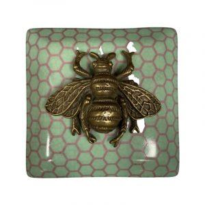 CAM Bee Jade Porcelain Trinket Box Lid
