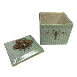 CAM Bee Jade Porcelain Trinket Box With Lid