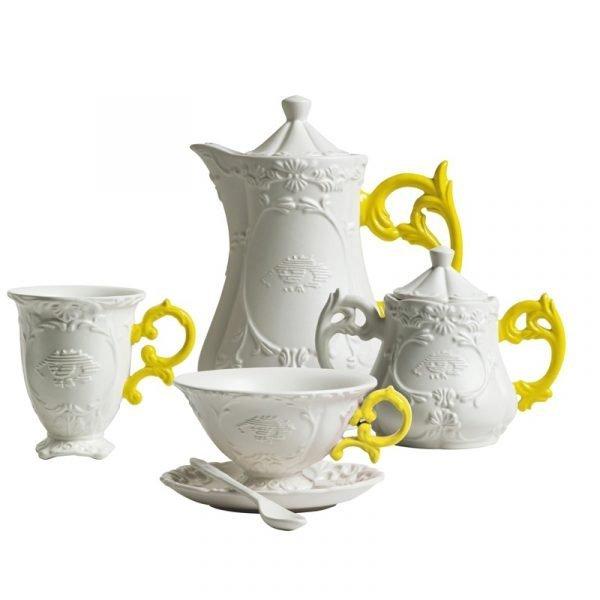 Seletti I-Sugar Bowl Yellow Handle Set