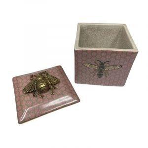 CAM Bee Pink Trinket Box Lid Off